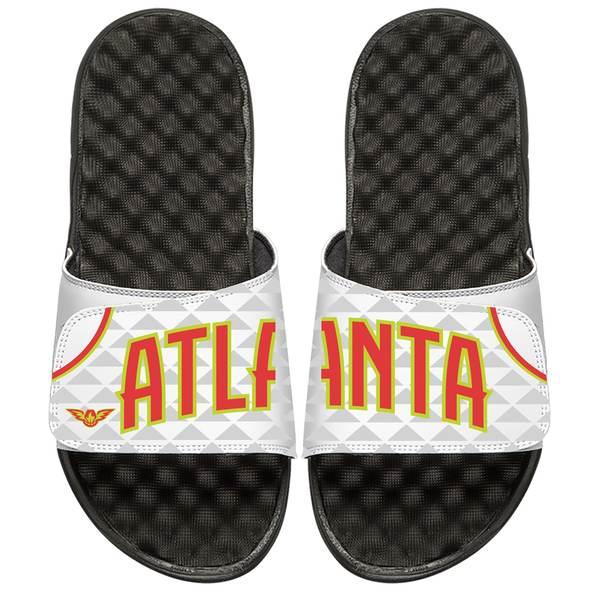 アイスライド メンズ サンダル シューズ Atlanta Hawks ISlide Home Jersey Split Slide Sandals White
