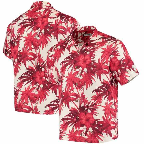 トッミーバハマ メンズ シャツ トップス Oklahoma Sooners Tommy Bahama Harbor Island Hibiscus ButtonUp Shirt Crimson