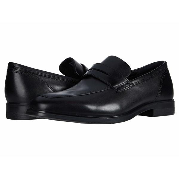 エコー メンズ スリッポン・ローファー シューズ Queenstown Penny Loafer Black Cow Leather