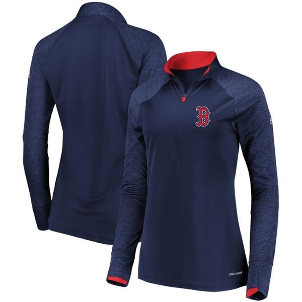 マジェスティック レディース ジャケット&ブルゾン アウター Boston Red Sox Majestic Women's Extremely Clear Cool Base Raglan 1/2-Zip Jacket Navy