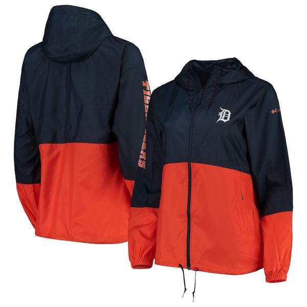 コロンビア レディース ジャケット&ブルゾン アウター Detroit Tigers Columbia Women's Flash Forward Windbreaker Jacket Navy/Orange