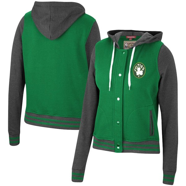 ミッチェル&ネス レディース ジャケット&ブルゾン アウター Boston Celtics Mitchell & Ness Women's Hardwood Classics Varsity Fleece Full Snap Hoodie Jacket Kelly Green