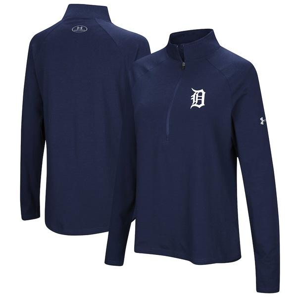アンダーアーマー レディース ジャケット&ブルゾン アウター Detroit Tigers Under Armour Women's Passion Performance Tri-Blend Raglan Half-Zip Pullover Jacket Navy