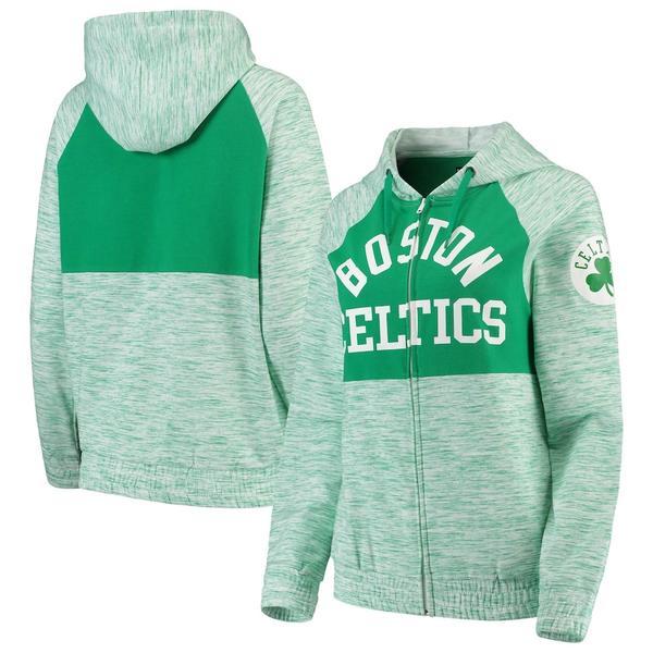 ニューエラ レディース ジャケット&ブルゾン アウター Boston Celtics New Era Women's Space Dye Team Color Yoke Full-Zip Hoodie Kelly Green