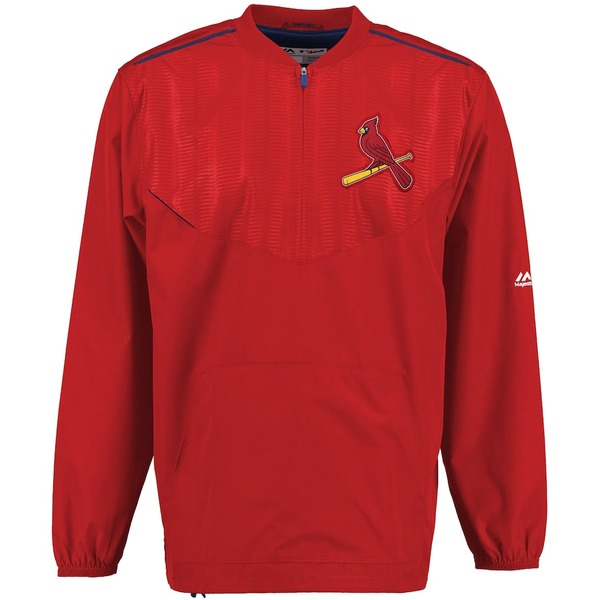マジェスティック メンズ ジャケット&ブルゾン アウター St. Louis Cardinals Majestic On Field Cool Base Training Half-Zip Jacket Red
