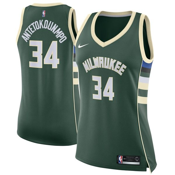 ナイキ レディース シャツ トップス Giannis Antetokounmpo Milwaukee Bucks Nike Women's Swingman Jersey Green Icon Edition