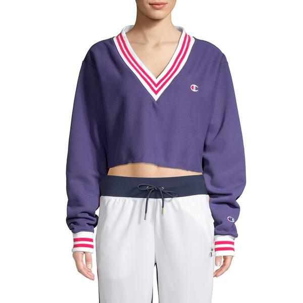 チャンピオン レディース パーカー・スウェットシャツ アウター Yarn Dye Striped Cropped V-Neck Pullover Purple