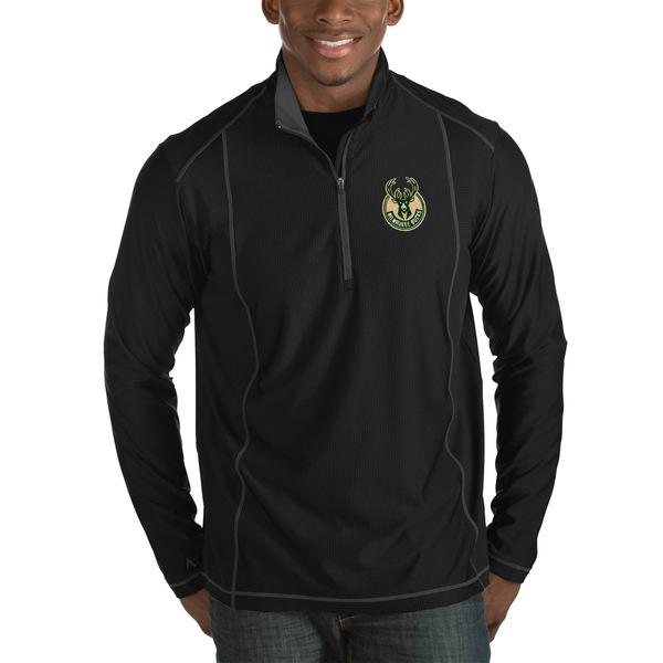 アンティグア メンズ ジャケット&ブルゾン アウター Milwaukee Bucks Antigua Tempo Big & Tall HalfZip Pullover Jacket Charcoal