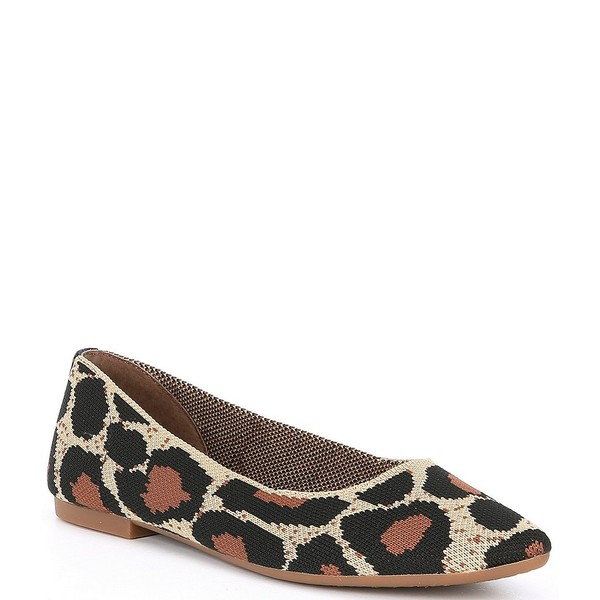ジアーニビニ レディース サンダル シューズ Semine Leopard Print Knit Pointed-Toe Ballet Flats Natural