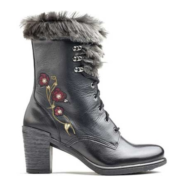 日本最大のブランド ドロメダリス レディース ブーツ&レインブーツ シューズ Goldie Lace Up Mid Calf Boot (Women's) Black Leather, 韮山町 454e6513