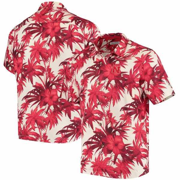 トッミーバハマ メンズ シャツ トップス Nebraska Cornhuskers Tommy Bahama Harbor Island Hibiscus ButtonUp Shirt Scarlet