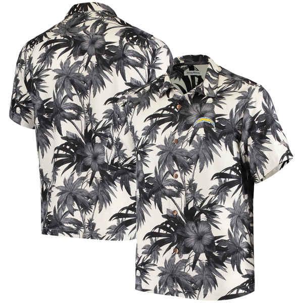 トッミーバハマ メンズ シャツ トップス San Francisco 49ers Tommy Bahama Sport Harbor Island Hibiscus Camp ButtonDown Shirt Black