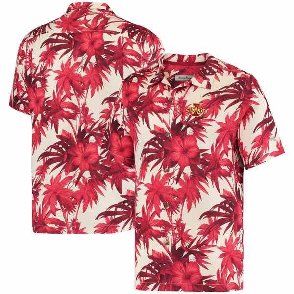 トッミーバハマ メンズ シャツ トップス Iowa State Cyclones Tommy Bahama Harbor Island Hibiscus ButtonUp Shirt Cardinal