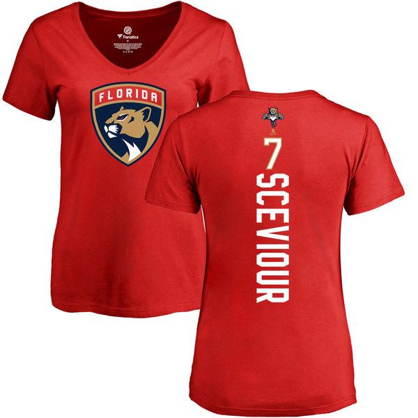 ファナティクス レディース Tシャツ トップス Florida Panthers Fanatics Branded Women's Personalized Playmaker Slim Fit VNeck TShirt Red