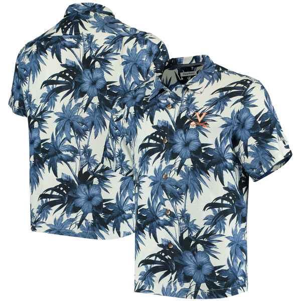 トッミーバハマ メンズ シャツ トップス Virginia Cavaliers Tommy Bahama Harbor Island Hibiscus ButtonUp Shirt Navy