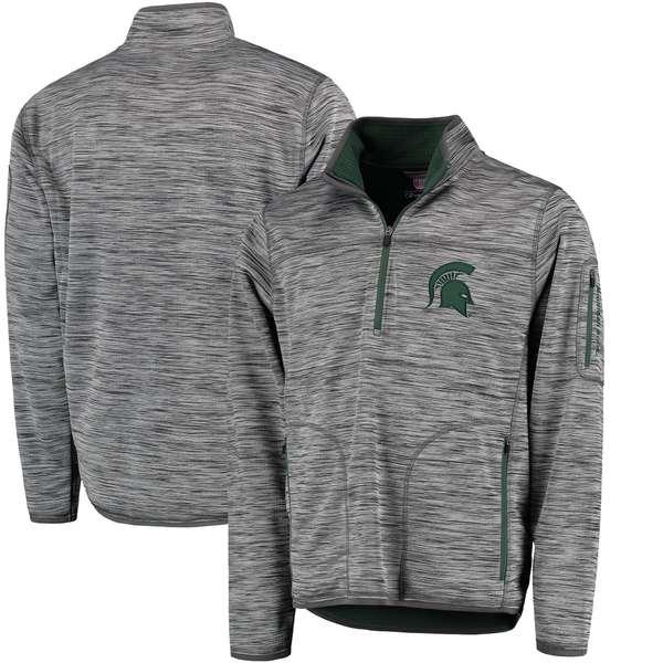 カールバンクス メンズ ジャケット&ブルゾン アウター Michigan State Spartans GIII Sports by Carl Banks Fast Pace HalfZip Pullover Jacket Heathered Gray