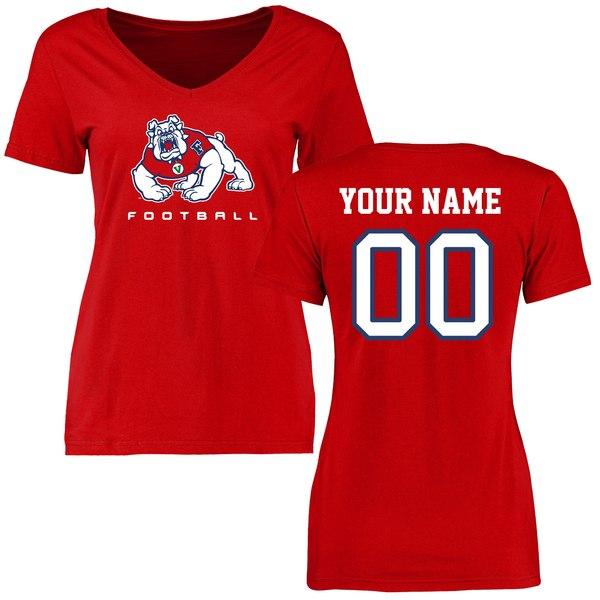 ファナティクス レディース Tシャツ トップス Fresno State Bulldogs Women's Personalized Football TShirt Red