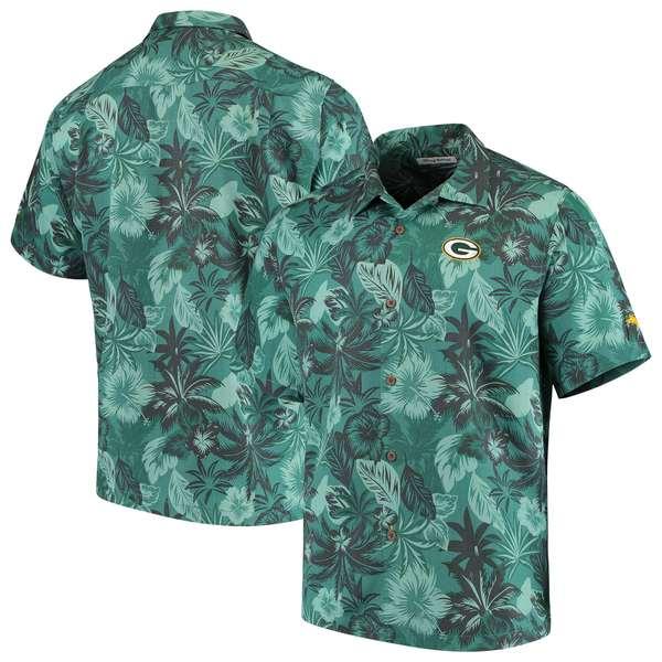 トッミーバハマ メンズ シャツ トップス Green Bay Packers Tommy Bahama Fuego Floral Woven ButtonUp Shirt Green