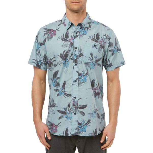 オニール メンズ シャツ トップス O'Neill Men's Fiiore Short Sleeve Button Down Shirt SmokeBlue