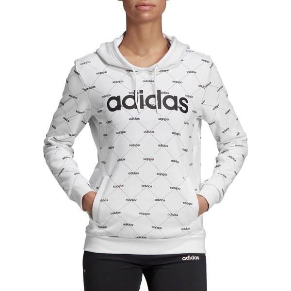 アディダス レディース パーカー・スウェットシャツ アウター adidas Women's Linear Graphic Hoodie White