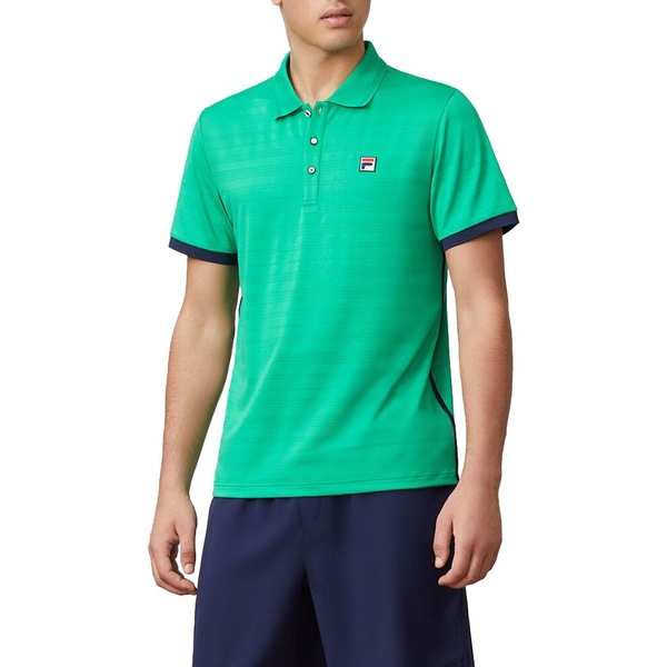 フィラ メンズ シャツ トップス Fila Men's Heritage Jacquard Tennis Polo GreenNavy