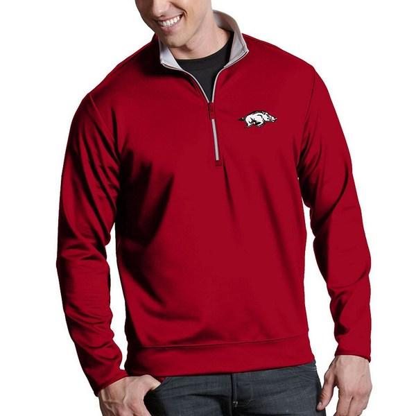 アンティグア メンズ ニット&セーター アウター NCAA Leader Quarter-Zip Pullover Arkansas Razorbacks Red