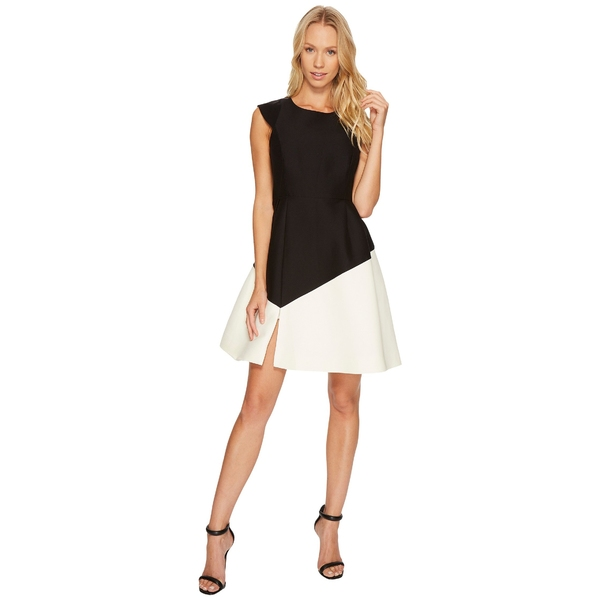 ハルストンヘリテージ Sleeve レディース ワンピース トップス Black/Cream Cap Sleeve Round ワンピース Neck Colorblocked Dress Black/Cream, ニジョウマチ:57fd94a5 --- officewill.xsrv.jp