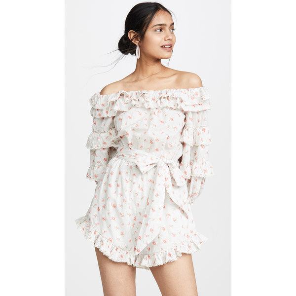 ラブサム レディース ワンピース トップス Posie Floral Lace Off the Shoulder Romper Posie Floral Print
