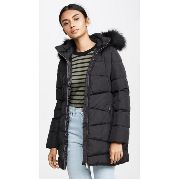 アッドダウン レディース ジャケット&ブルゾン アウター Down Coat With Detachable Fur Hood Black