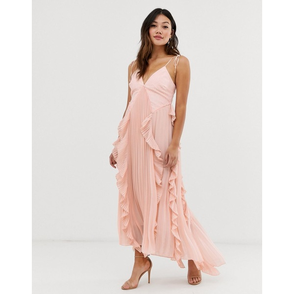 トゥルーデカデンス レディース ワンピース トップス True Decadence premium cami dress with ruffle and pleated skirt in peach Peach