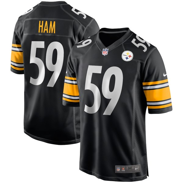 ナイキ メンズ ユニフォーム トップス Jack Ham Pittsburgh Steelers Nike Game Retired Player Jersey Black