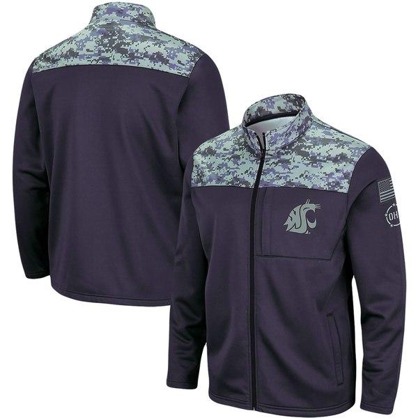 コロシアム メンズ ジャケット&ブルゾン アウター Washington State Cougars Colosseum OHT Military Appreciation Fleece FullZip Jacket Charcoal