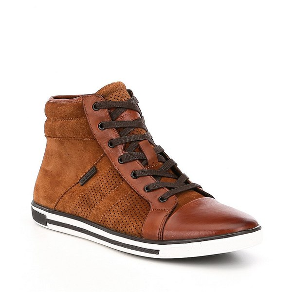 ケネスコール メンズ スニーカー シューズ Men's Suede Initial Point Cap Toe High Tops Rust