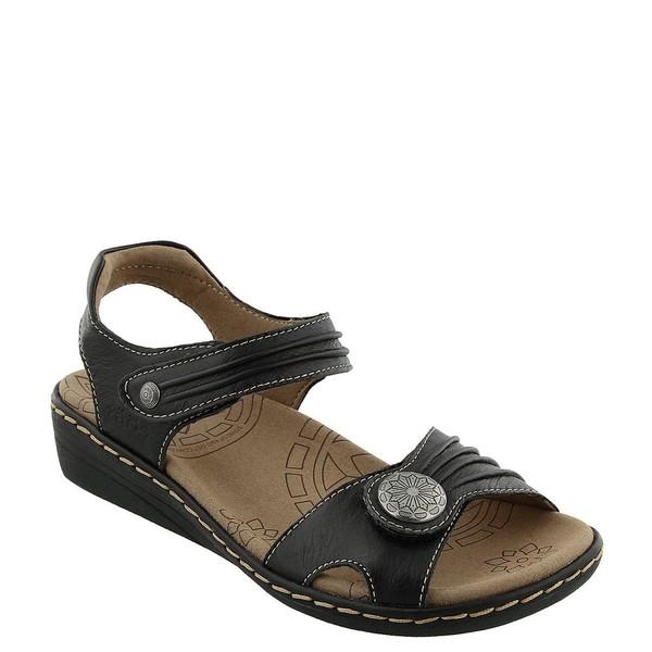 タオスフットウェア レディース サンダル シューズ Escape Leather Low Wedge Sandals Black