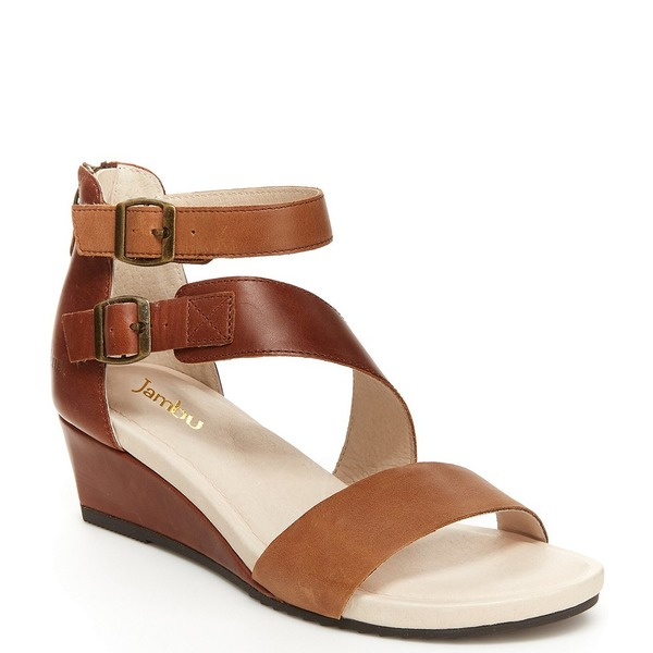 ジャンブー レディース サンダル シューズ Capri Colorblock Leather Wedge Sandals Brown/Latte