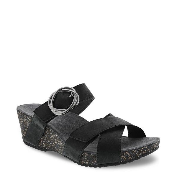 ダンスコ レディース サンダル シューズ Susie Leather Slide Sandals Black Milled Suede