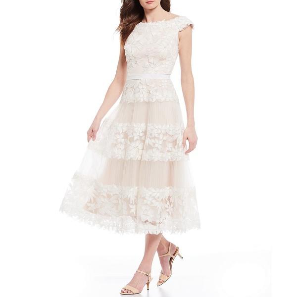 タダシショージ レディース ワンピース トップス Off-the-Shoulder Floral Embroidered Tulle A-Line Midi Dress Ivory/Petal