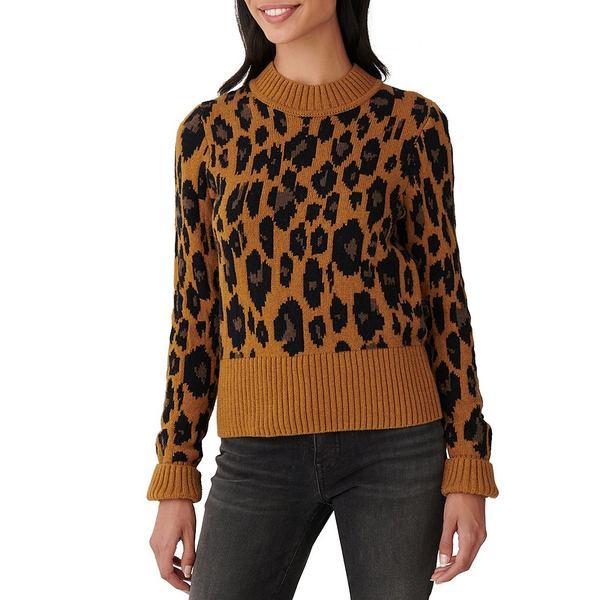 Cotton レディース Wool Rib アウター Heather Camel ニット&セーター Print Pullover Neck Trim Blend ラッキーブランド Leopard Crew