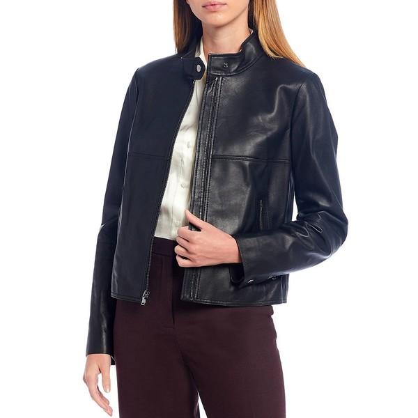 ベストセラー アントニオメラニー レディース コート アウター Luxury Collection Rachel Genuine Leather Stand Collar Moto Jacket Black, J.herself d262a602
