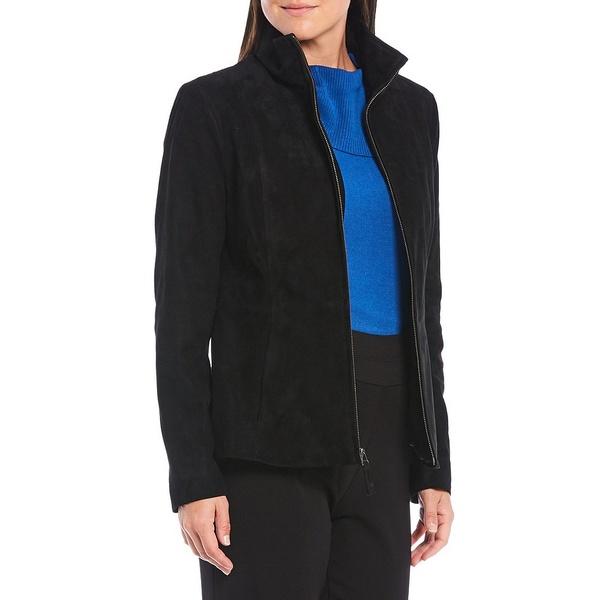 インベストメンツ レディース アウター コート Black 全商品無料サイズ交換 Genuine 受注生産品 Front Zip 《週末限定タイムセール》 Suede Stand Jacket Collar