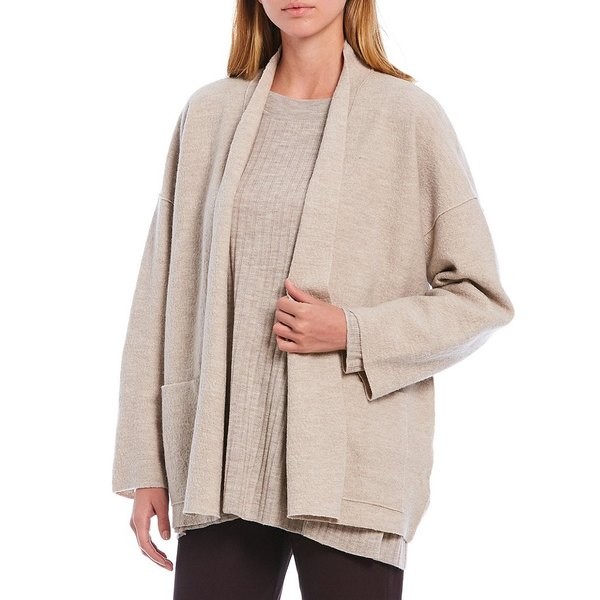 史上一番安い エイリーンフィッシャー レディース ジャケット&ブルゾン アウター Petite Size Light Boiled Wool High Collar Open Front Jacket Maple Oat, カーピカル JAPAN NET 事業部 ec2df74f