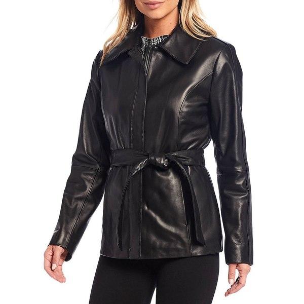 『2年保証』 プレストンアンドヨーク レディース コート アウター Genuine Leather Belted Shirt Collar Coat Black, たかの友梨 4fc4ff19