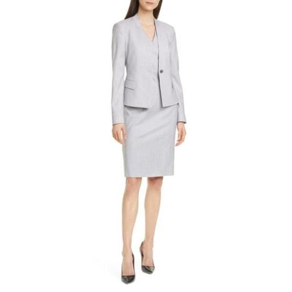 ボス レディース ワンピース Check トップス OPEN Destia Wool Sheath Dress MISC