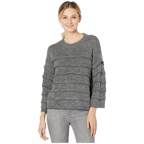 セセ レディース ニット&セーター アウター Long Sleeve Tiered Ruffle Sweater with Lurex New Smoke