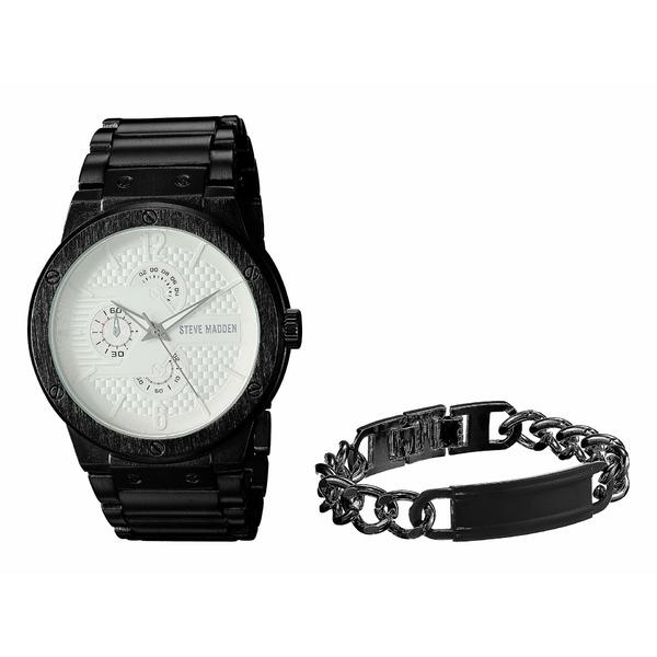 スティーブ マデン メンズ 腕時計 アクセサリー Multifunctional Watch with Black ID Plate Chain Bracelet Set SMWS036 Black/Silver