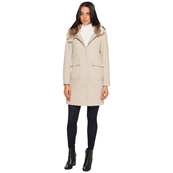 ラルフローレン レディース コート アウター Faux Fur Lined Wool w/ Hood and Patch Pocket Platinum Heather