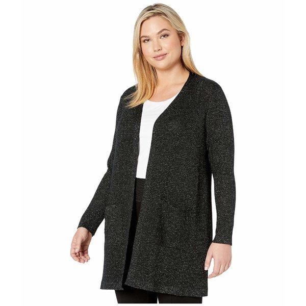 エイリーンフィッシャー レディース ニット&セーター アウター Plus Size Merino Sparkle Straight Long Cardi Black