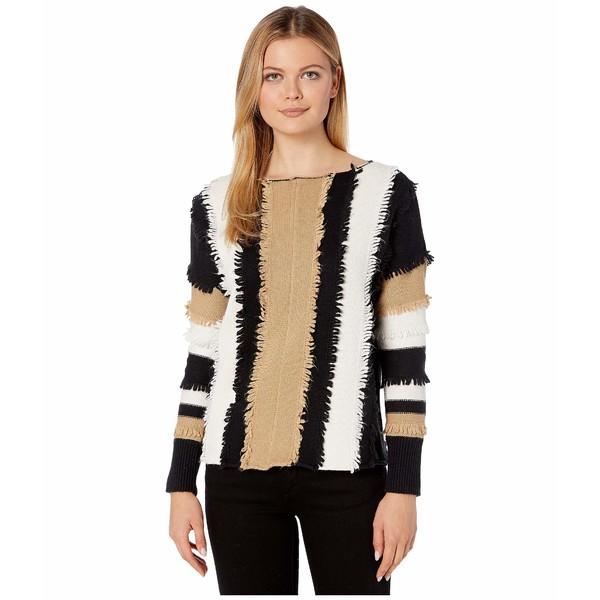 ヴィンスカムート レディース ニット&セーター アウター Long Sleeve Color Block Loopstitch Stripe Boat Neck Sweater Latte
