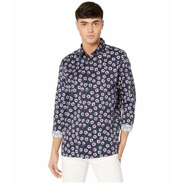 テッドベーカー メンズ シャツ トップス Wewill Long Sleeve Bold Floral Print Shirt Navy