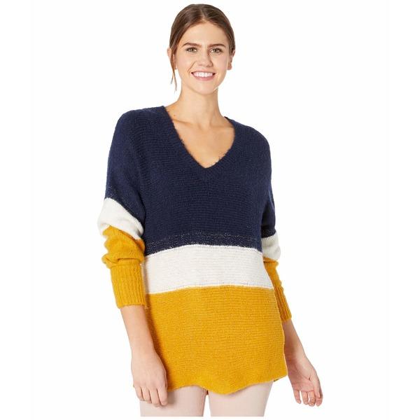 ワンステイト レディース ニット&セーター アウター V-Neck Jersey Stripe Tunic Sweater Navy Crush